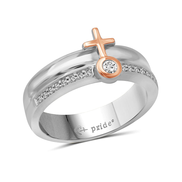 1/4 CTW 14K Two Tone Rose Gold Female Insignia Combination Ring