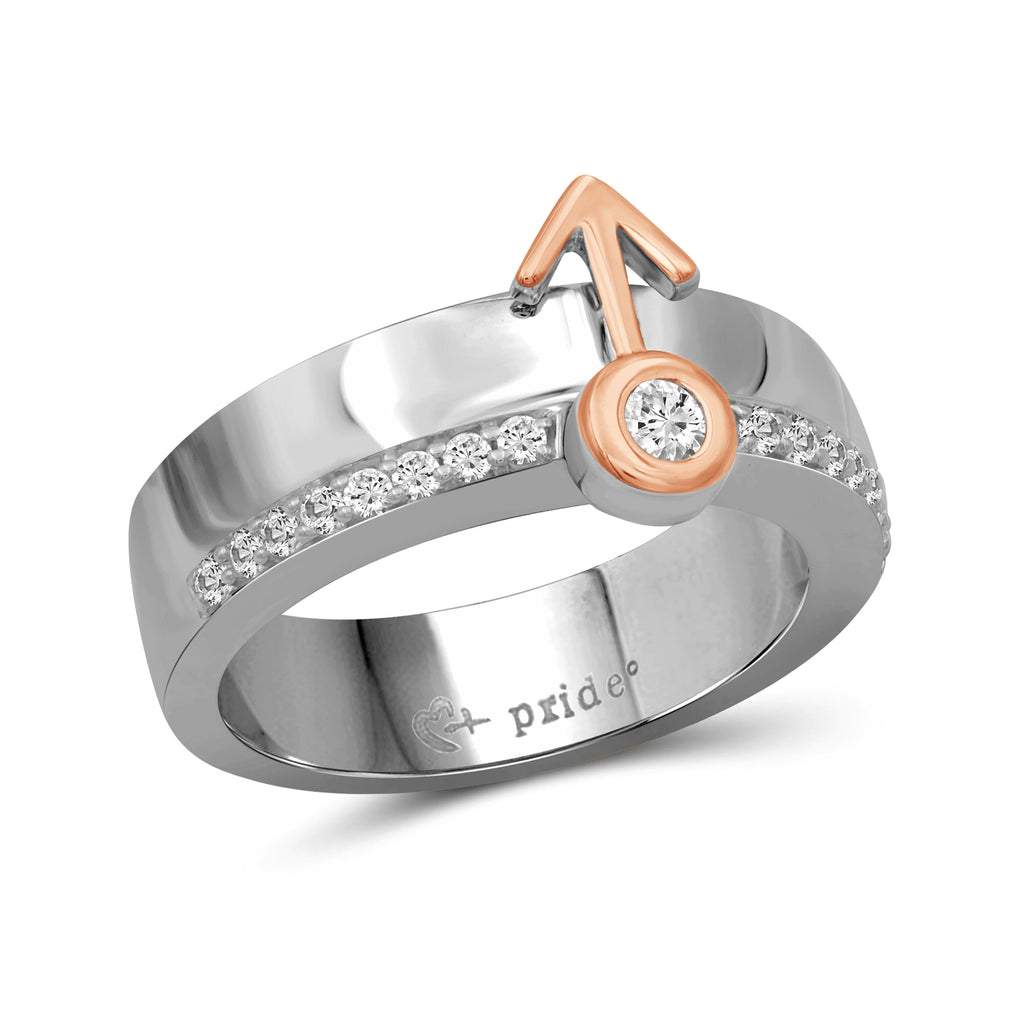 1/4 CTW 14K Two Tone Rose Gold Male Insignia Ring