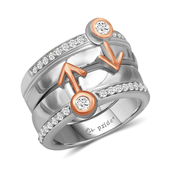 1/2 CTW 14K Two Tone Rose Gold Male Insignia Combination Ring