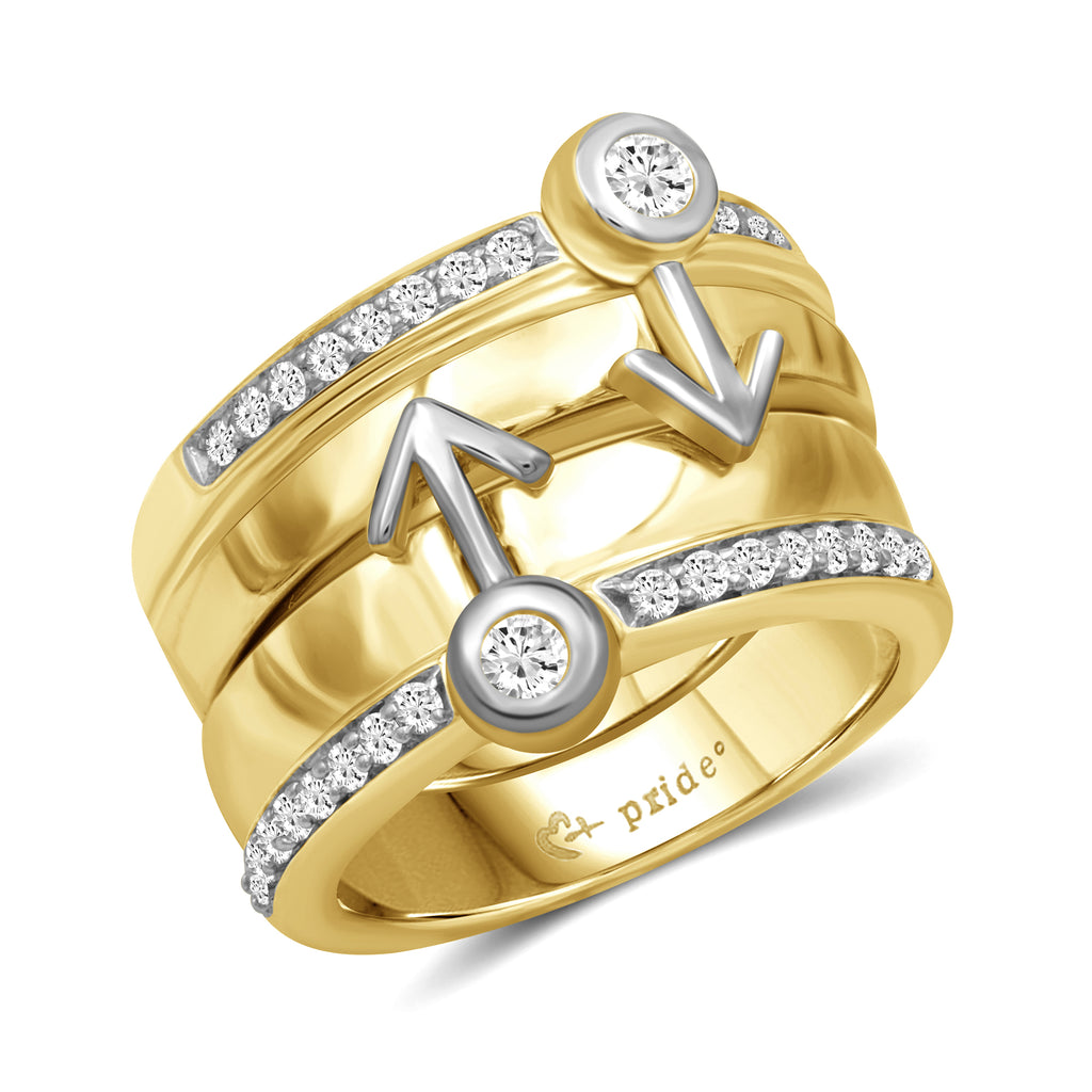 1/2 CTW 14K Yellow Two Tone Gold Male Insignia Combination Ring
