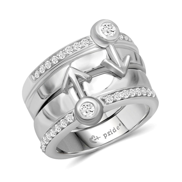 1/2 CTW 14K White Gold Male Insignia Combination Ring