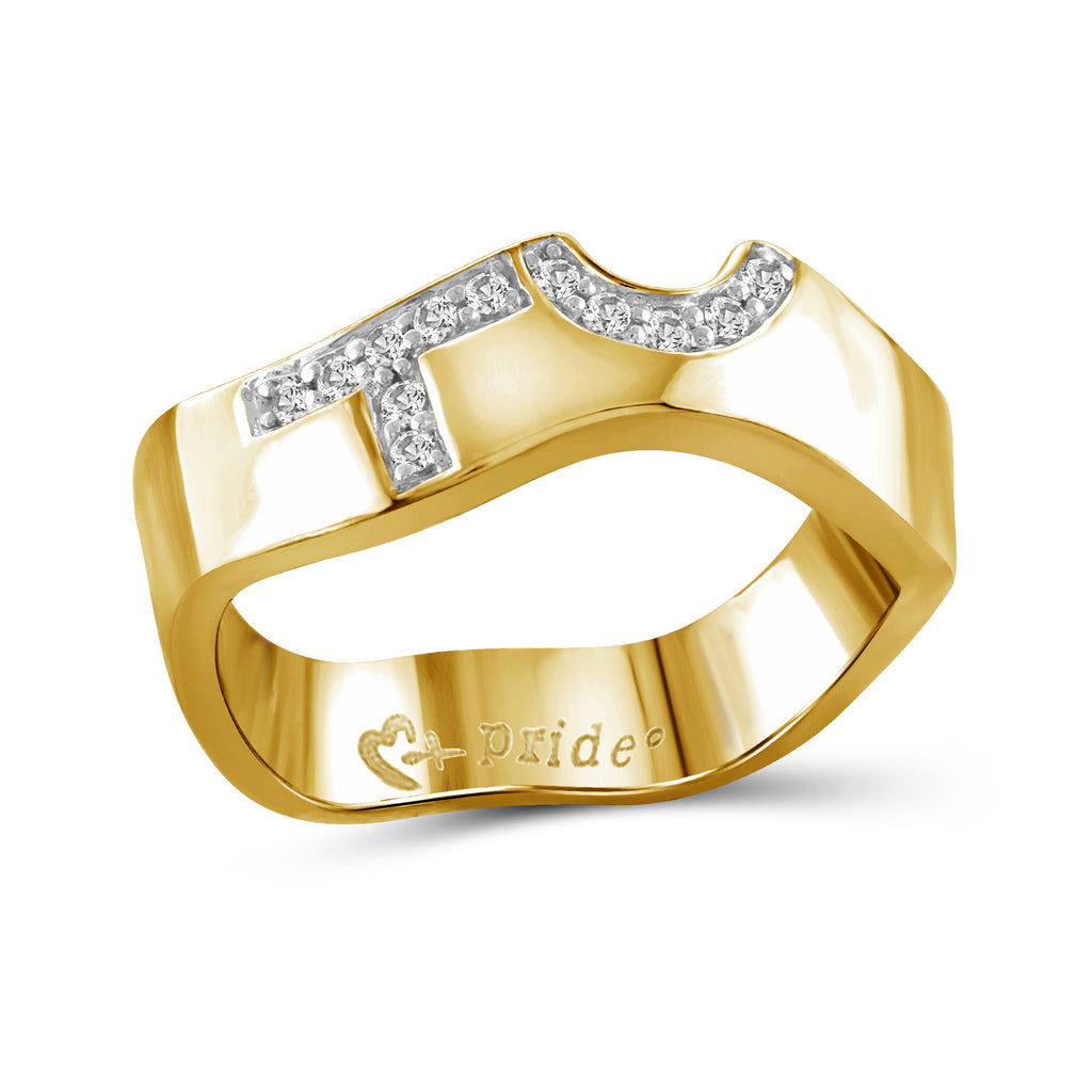 1/10 Carat Diamonds 14k Yellow Gold Female Insignia Ring