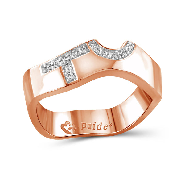 1/10 Carat Diamonds 14k Rose Gold Female Insignia Ring