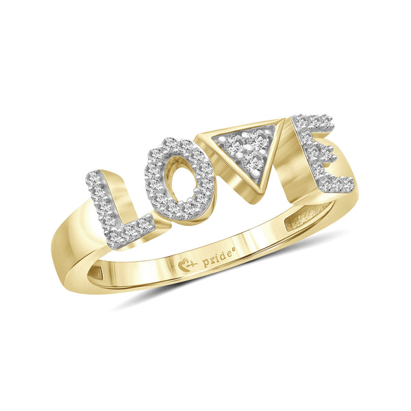 "1/5 CT. T.W. Diamond ""LOVE"" Anniversary Ring in 14K Yellow Gold"
