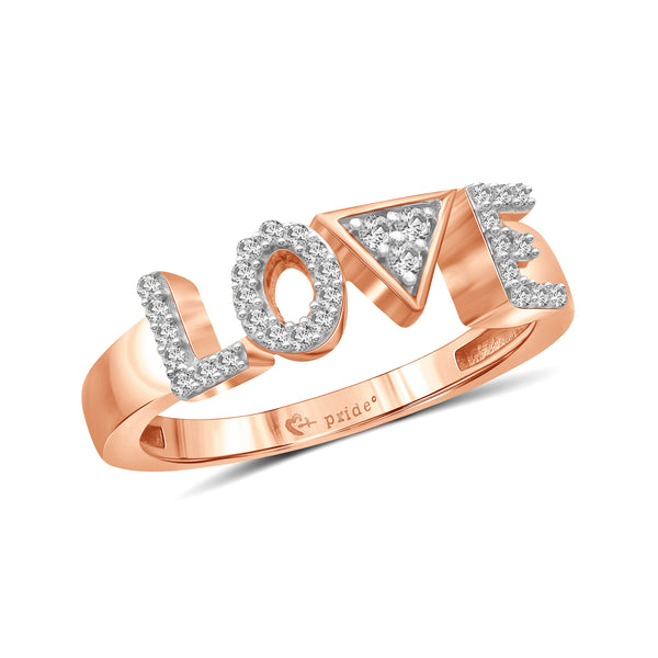 "1/5 CT. T.W. Diamond ""LOVE"" Anniversary Ring in 14K Rose Gold"