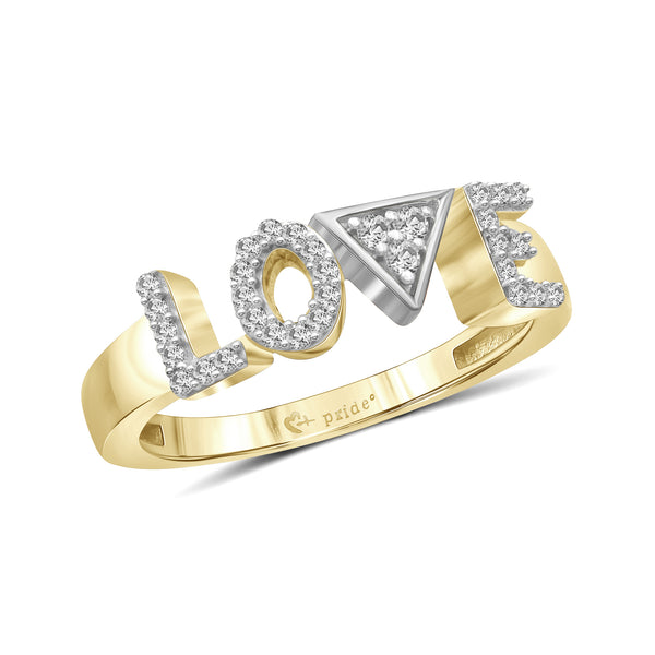 "1/5 CT. T.W. Diamond ""LOVE"" Anniversary Ring in 14K Yellow Two-Tone Gold"