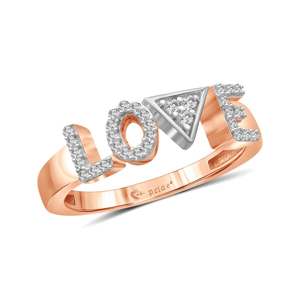 "1/5 CT. T.W. Diamond ""LOVE"" Anniversary Ring in 14K Rose Two-Tone Gold"
