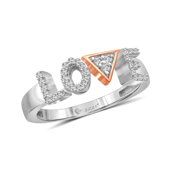 "1/5 CT. T.W. Diamond ""LOVE"" Anniversary Ring in 14K Two-Tone Rose Gold"