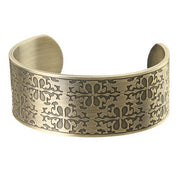 Wide-Faced Antique Copper Colored Stainless Steel Bangle.