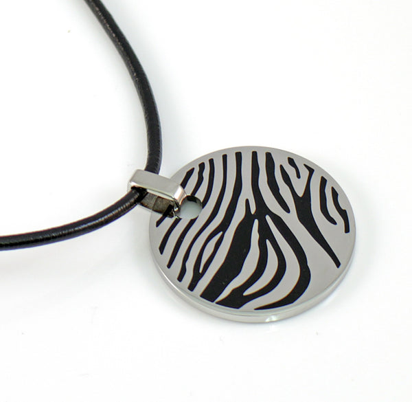 Circular Stainless Steel Pendant With Black Zebra Pattern