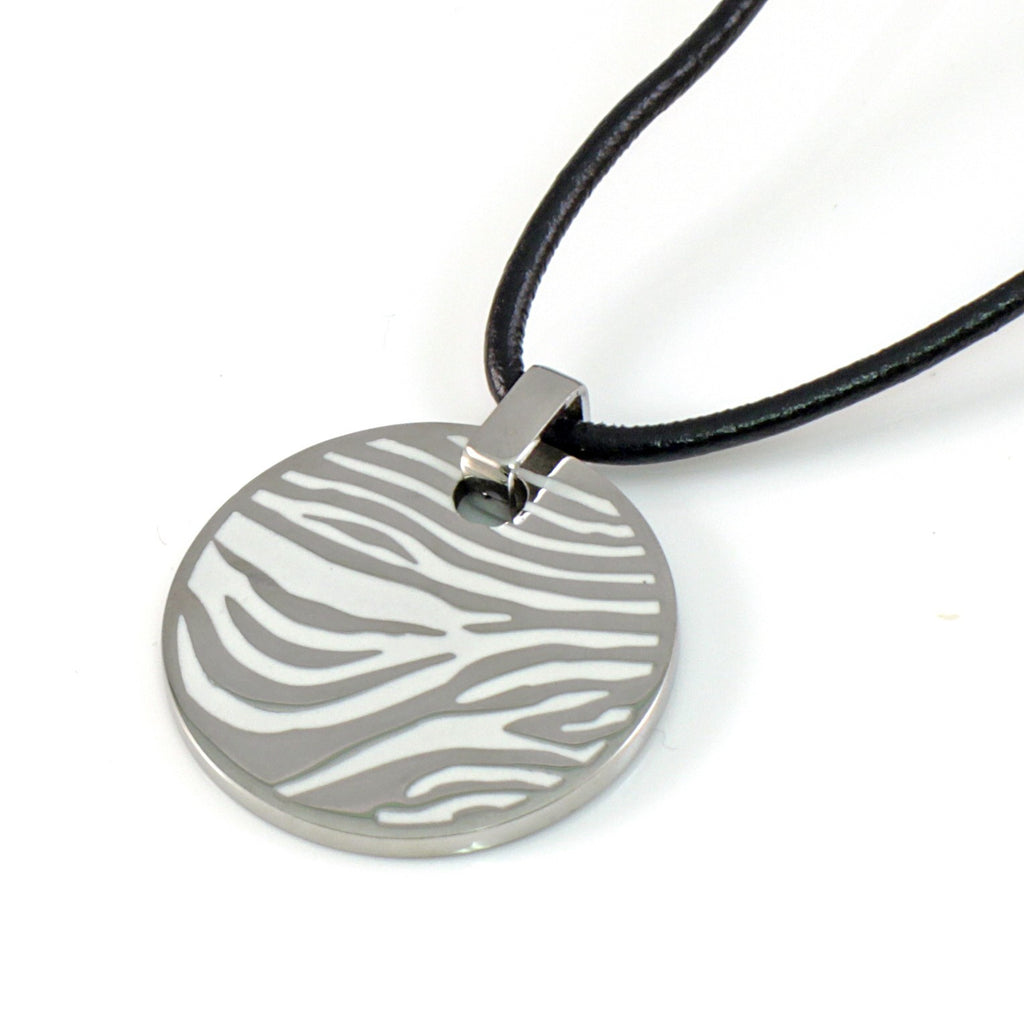 Circular Stainless Steel Pendant With Zebra Pattern