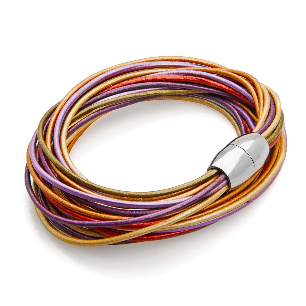 Rainbow Multi-Strand Leather Wrap Bracelet