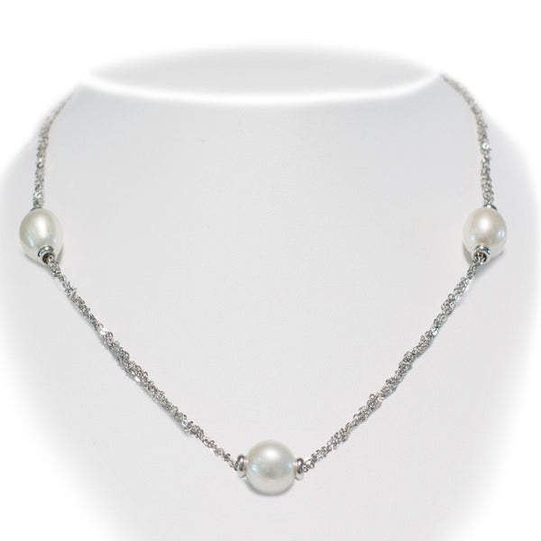 Silver Chain & Pearls Necklace