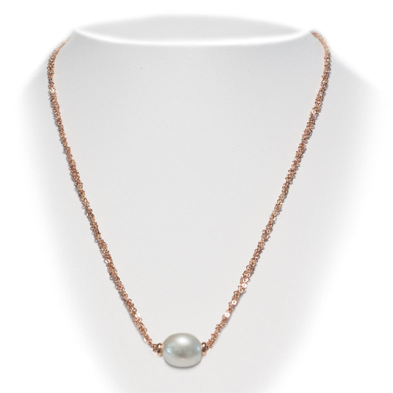 Rose gold plated silver necklace