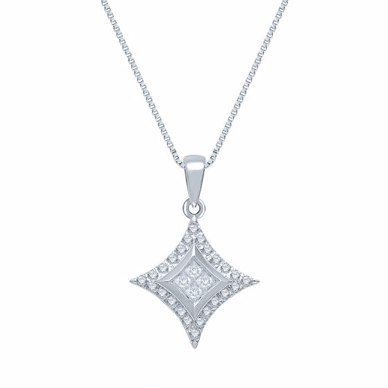 STARRA™ 1/5 CT. TW. DIAMOND 10K GOLD PENDANT