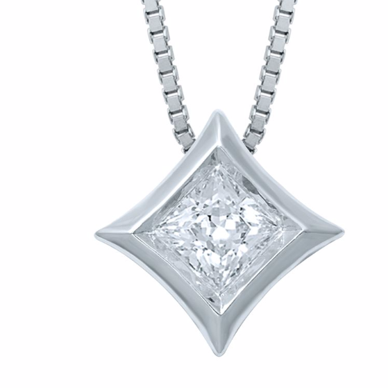 STARRA™ 1/2 CT. DIAMOND SOLITAIRE 14K GOLD PENDANT.