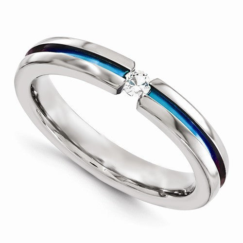 Rainbow Titanium Ring with a Center Stone