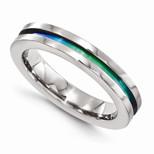 Titanium Ring with Rainbow Cutout