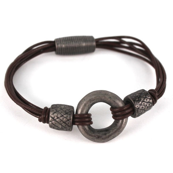 Brown & Hematite Center Ring Bracelet