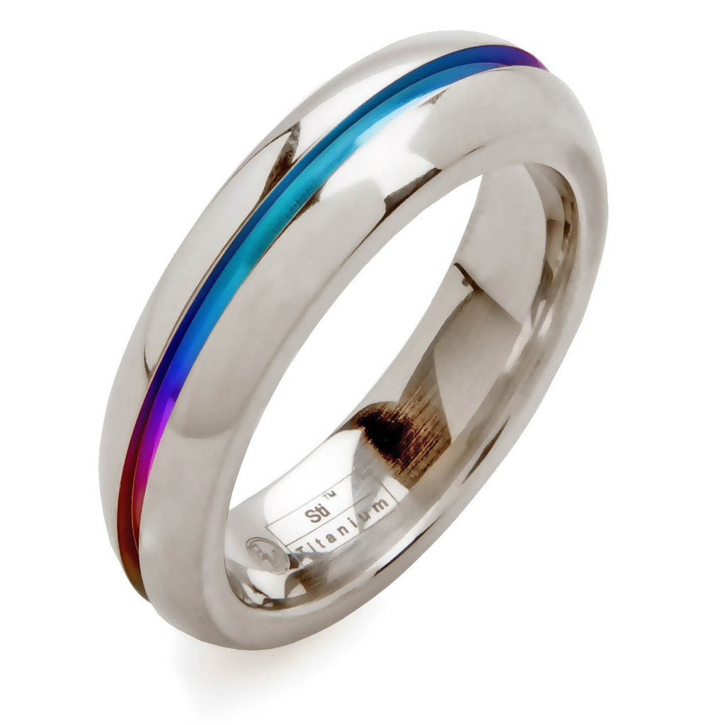 Rounded Titanium Ring with Rainbow Cutout