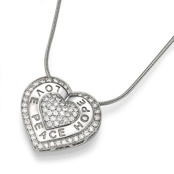 Gold and Diamonds Heart Pendant on Chain