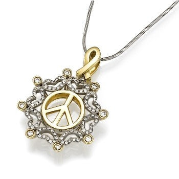 Yellow and White Gold Peace Pendant with Hearts