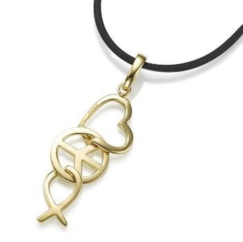 Yellow Gold Love Peace and Hope Pendant on Rubber Cord