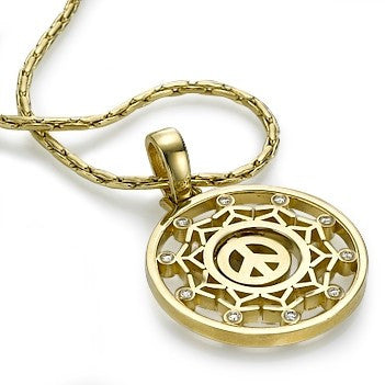 Gold Moveable Peace Pendant with People Charms