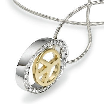 White and Yellow Gold Oval Peace Necklace
