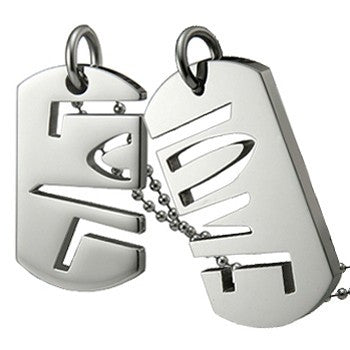 Stainless Steel LOVE Dog Tag Friendship Necklaces