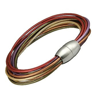 Rainbow Multi-Strand Leather Bracelet 7.25""