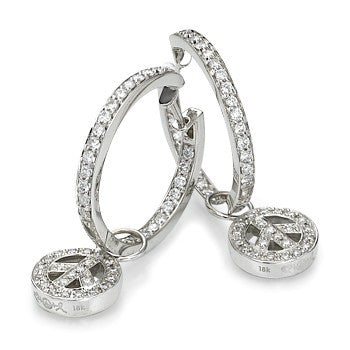 White Gold 1.40ct Hoops with Peace Charm