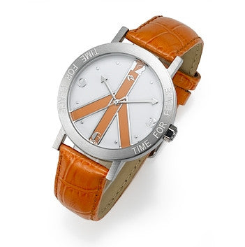 Orange Peace Sign and Orange Leather Strap watch