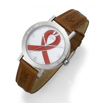 "Red And Brown ""Time for Hope"" Watch"