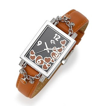Orange L Word Watch with Dangling Hearts