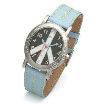 Black Face and Blue Strap watch