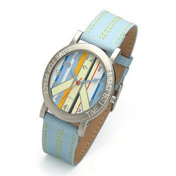 Striped Face and Blue Strap watch