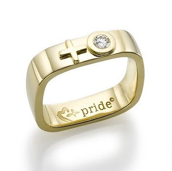 18k Yellow Gold Square Female Insignia Ring