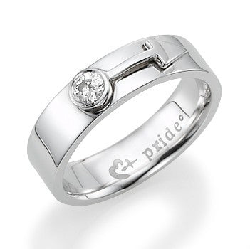 1/5 CTW 14K White Gold Male Insignia Ring