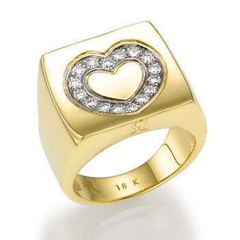 Yellow Gold Love Ring with Diamonds