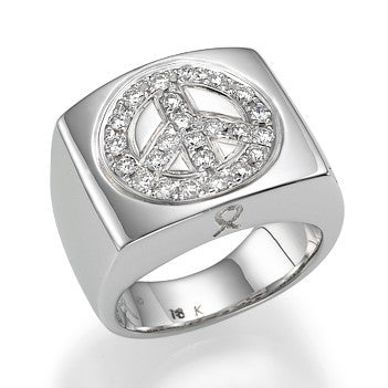 White Gold Peace Ring with Diamonds