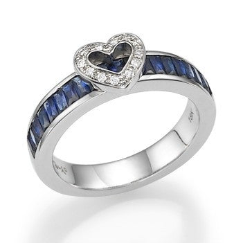 Gold and Blue Sapphire Love Ring