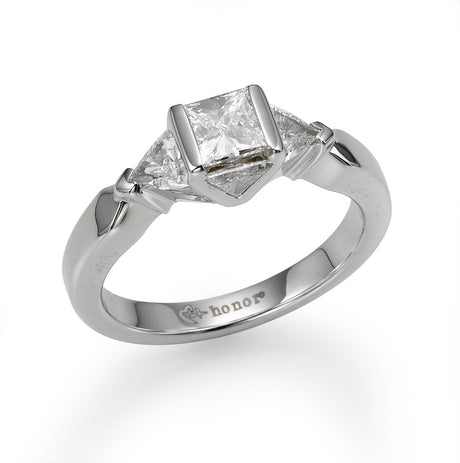 White Gold Princess and Trillion Engagement Ring