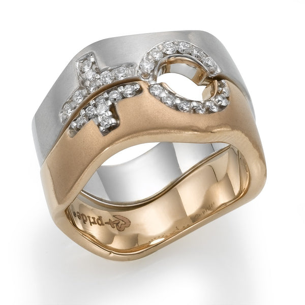 rose and white gold female combination ring - Lesbian Wedding Rings