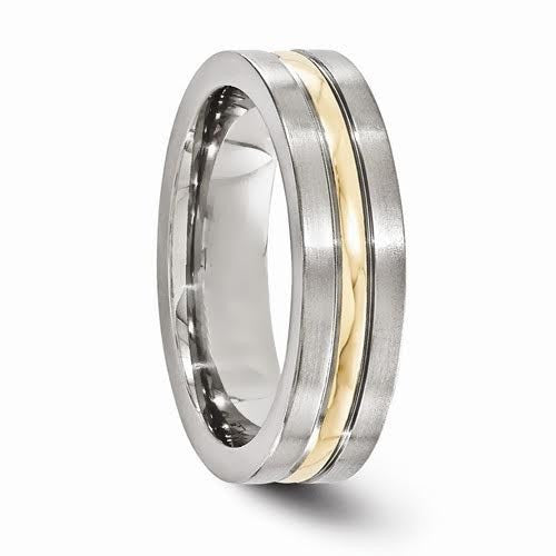 Grey Titanium And 14k Yellow Gold Grooved 6mm Band