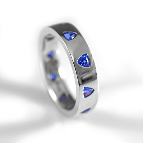 White Gold and Blue Trillion Sapphire Ring