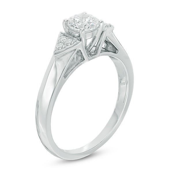 1/2 CT. T.W. Diamond Tri-Sides Engagement Ring in 14K White Gold