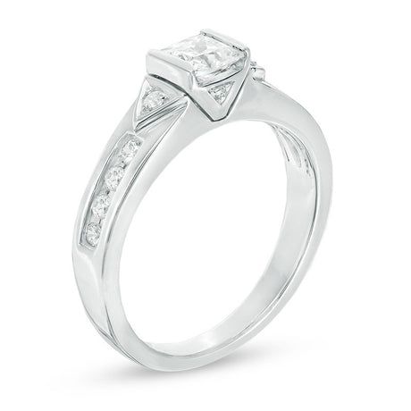 3/4 CT. T.W. Princess-Cut Diamond Tri-Sides Engagement Ring in 14K White Gold