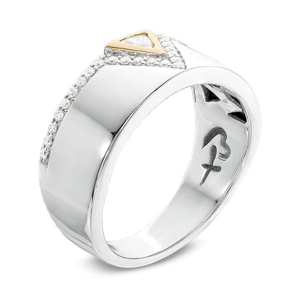 1/2 CT. T.W. Trillion-Cut Diamond Anniversary Band in 14K Two-Tone Gold