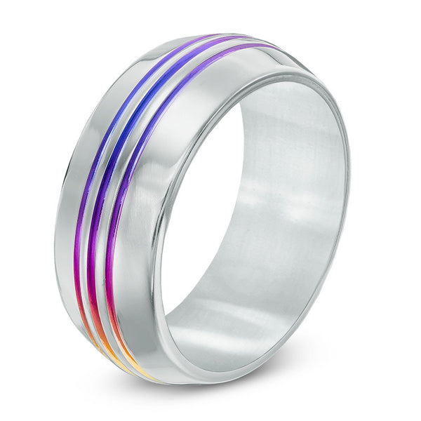 8.0mm Rainbow Three Groove Anodized Titanium Anniversary Band